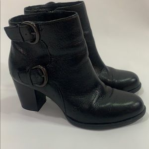 Born black leather buckle ankle boots size 7